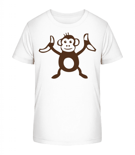 Opica s banánmi - Detské Premium Bio tričko - Biela - Predné