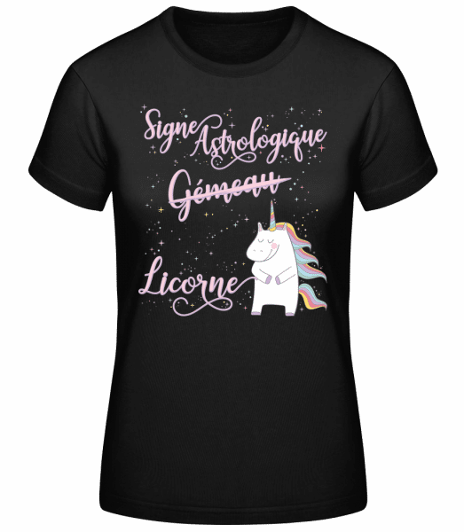 Signe Astrologique Licorne Gémea - T-shirt standard femme - Noir - Vorn