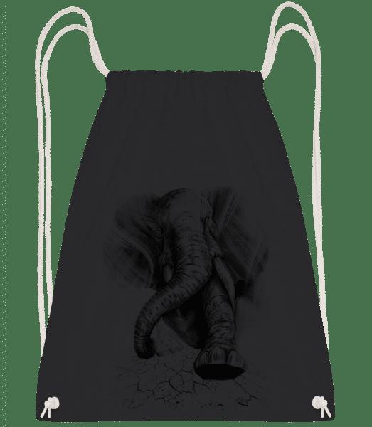 Angry Elephant - Drawstring Backpack - Black - Vorn