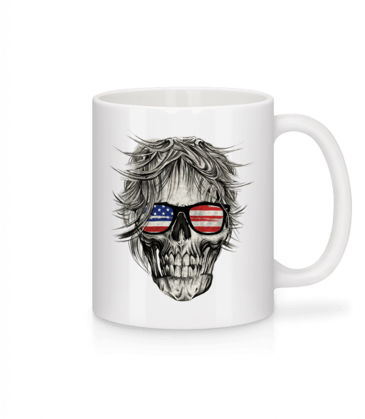 Crâne Amérique - Mug - White - Vorn