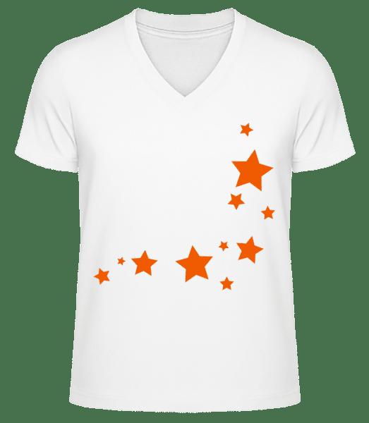 Stars - Men's V-Neck Organic T-Shirt - White - Vorn