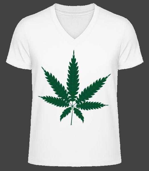 Cannabis - Men's V-Neck Organic T-Shirt - White - Front