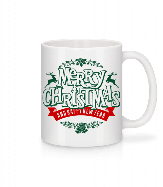 Merry Christmas Label - Tasse - Weiß - Vorn