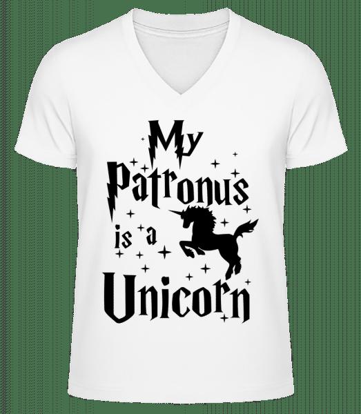 My Patronus Is A Unicorn - Men's V-Neck Organic T-Shirt - White - Vorn