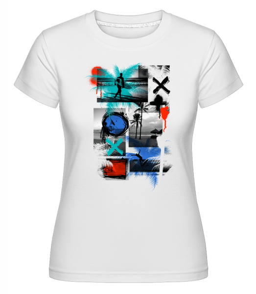 Surfing And Graffiti -  Shirtinator Women's T-Shirt - White - Vorn