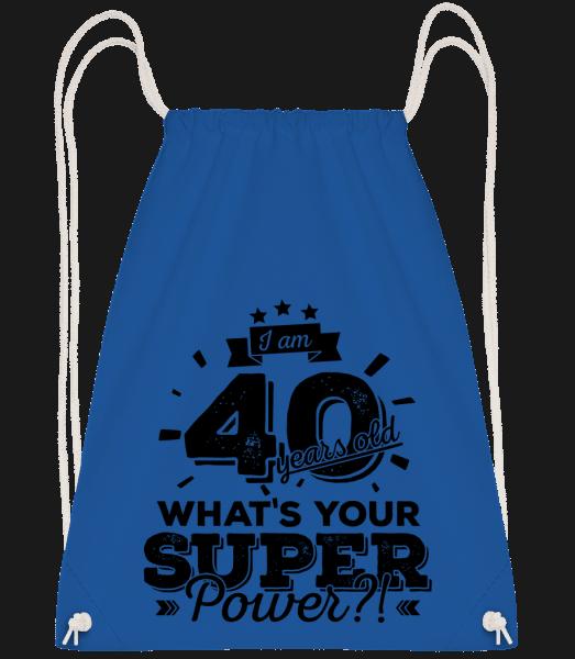 40 Years Super Power - Drawstring Backpack - Royal Blue - Vorn