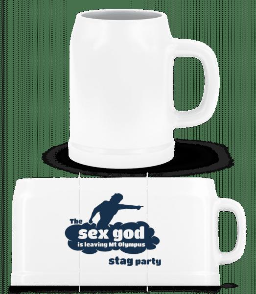 Stag Party Sex God - Beer Mug - White - Vorn