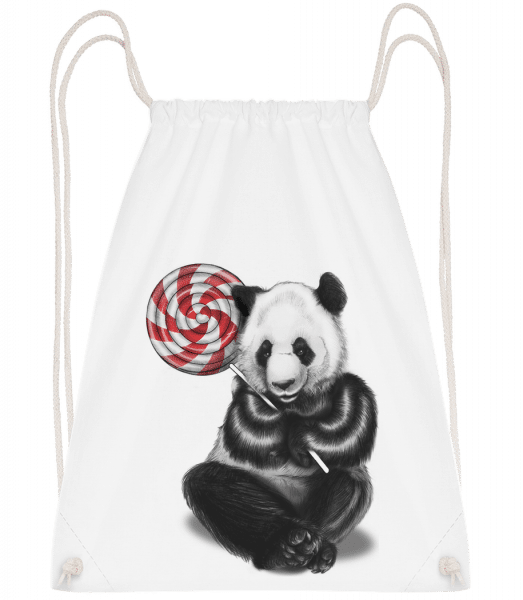 Candy Bear - Drawstring Backpack - White - Vorn