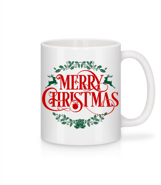 Merry Christmas Label - Mug - White - Vorn