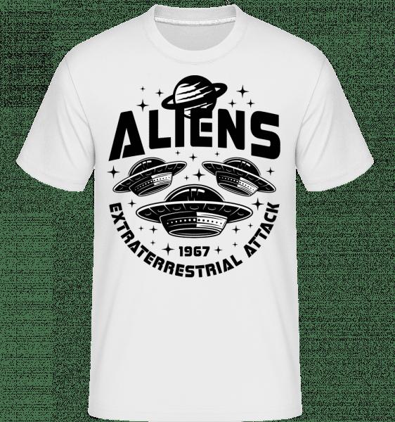 Alien mimozemský -  Shirtinator tričko pro pány - Bílá - Napřed