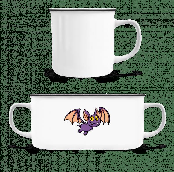 Cartoon Bat - Enamel-cup - White - Vorn