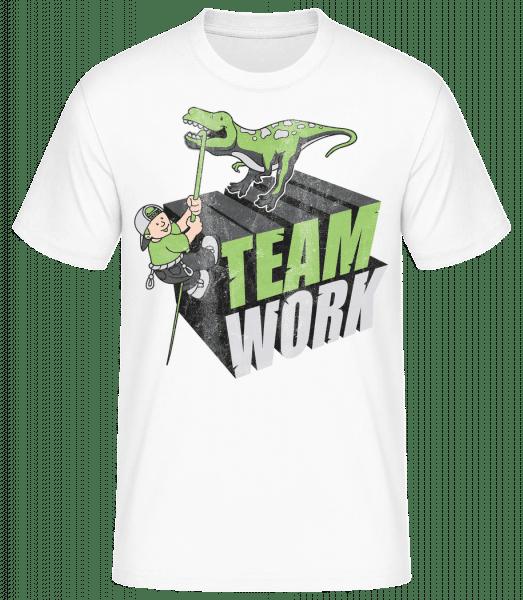 Travail D'Équipe De Dinosaure - T-shirt standard homme - Blanc - Devant