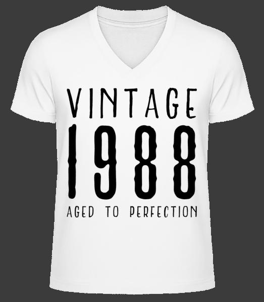 Vintage 1988 Aged To Perfection - Männer Bio T-Shirt V-Ausschnitt - Weiß - Vorn