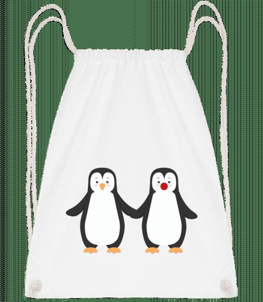 Pinguin Paar - Turnbeutel - Weiß - Vorn