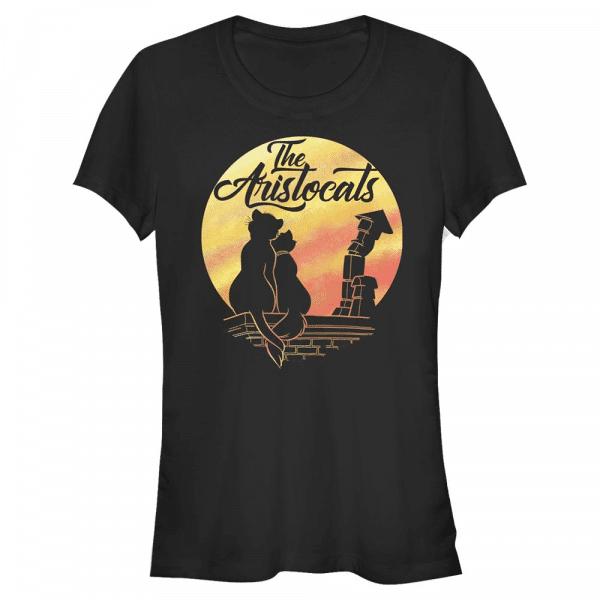 Moon Silhouette Duchess & Thomas - Disney The Aristocats - Women's T-Shirt - Black - Front