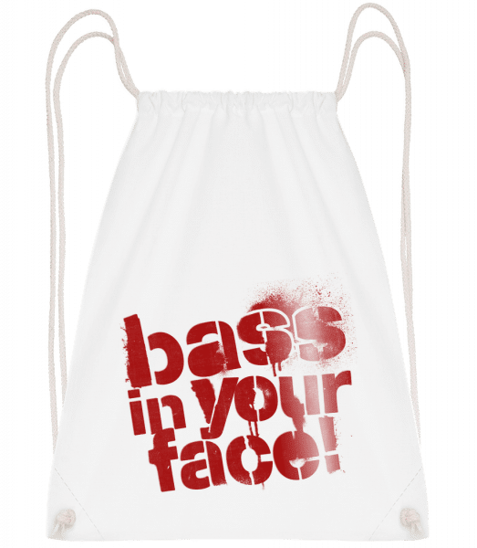 Bass In Your Face - Drawstring Backpack - White - Vorn