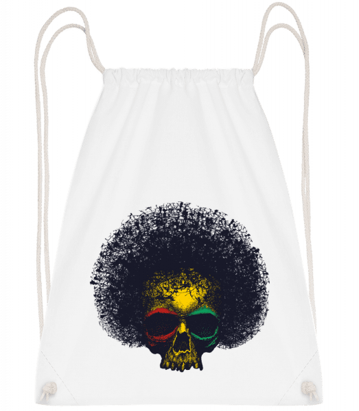 Reggae Skull - Drawstring Backpack - White - Vorn