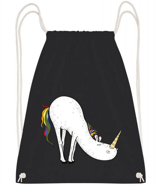 Yoga Unicorn Bücke - Drawstring Backpack - Black - Vorn