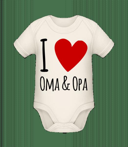 I Love Oma & Opa - Baby Bio Strampler - Creme - Vorn