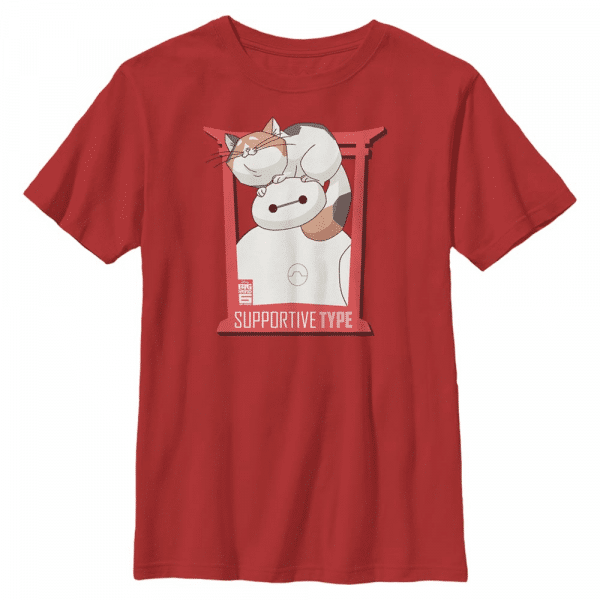 Supportive Type Group Shot - Pixar Big Hero Six - Kids T-Shirt - Red - Front