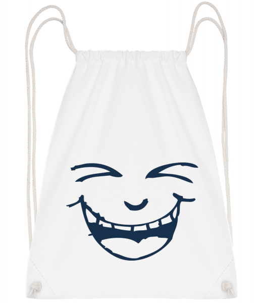 Laughing Face Symbol Blue - Drawstring Backpack - White - Vorn