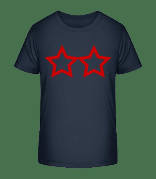 Deux Étoiles - T-shirt bio Premium Enfant - Bleu marine - Vorn