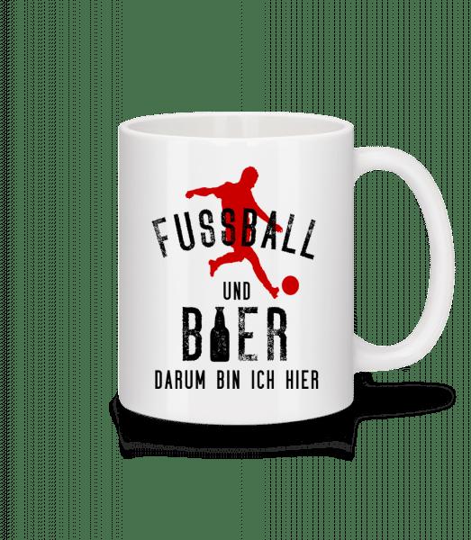 Fußball Und Bier - Tasse - Weiß - Vorn
