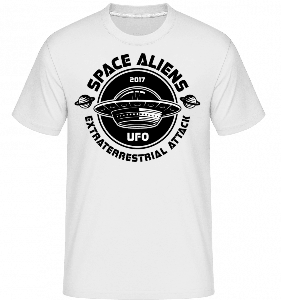 Aliens Ufo Attack -  Shirtinator Men's T-Shirt - White - Front