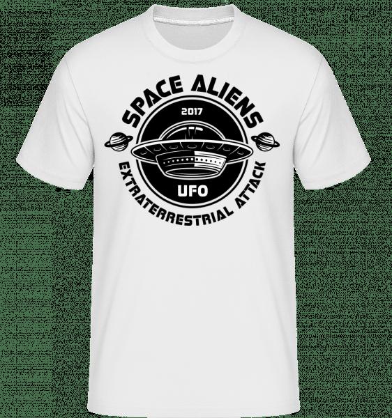 Aliens UFO útok -  Shirtinator tričko pre pánov - Biela - Predné