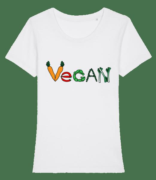 Vegan Comic - Women's Premium Organic T-Shirt Stanley Stella - White - Vorn