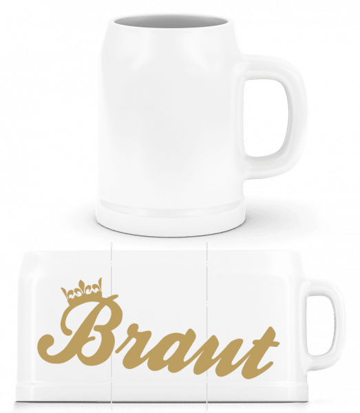 Braut Krone - Bierkrug - Weiß - Vorn