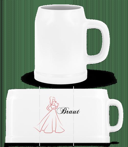 Bride Icon Red - Beer Mug - White - Vorn