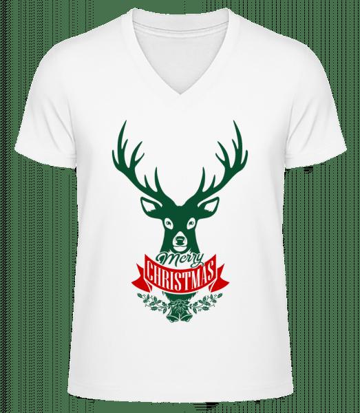 Merry Christmas Deer Label - Men's V-Neck Organic T-Shirt - White - Vorn