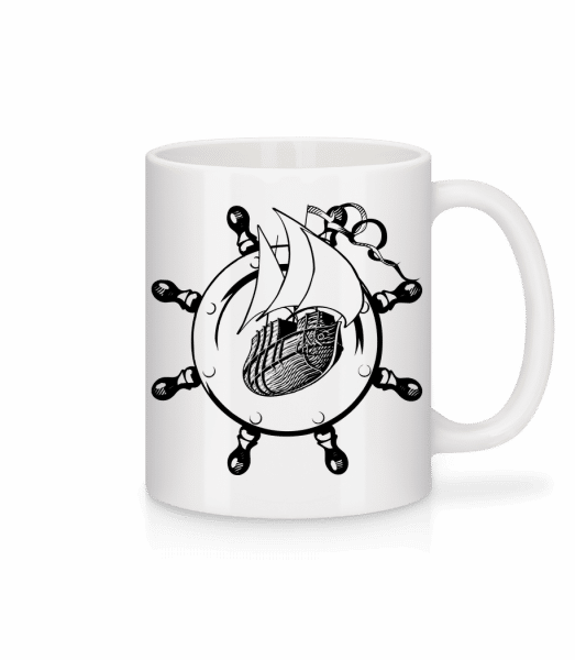 Ship Wheel Icon - Mug - White - Vorn