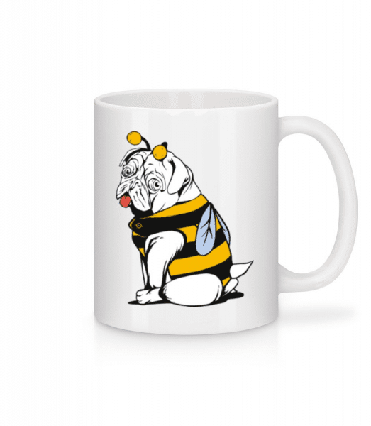 Bee Pug - Keramický hrnek - Bílá - Napřed