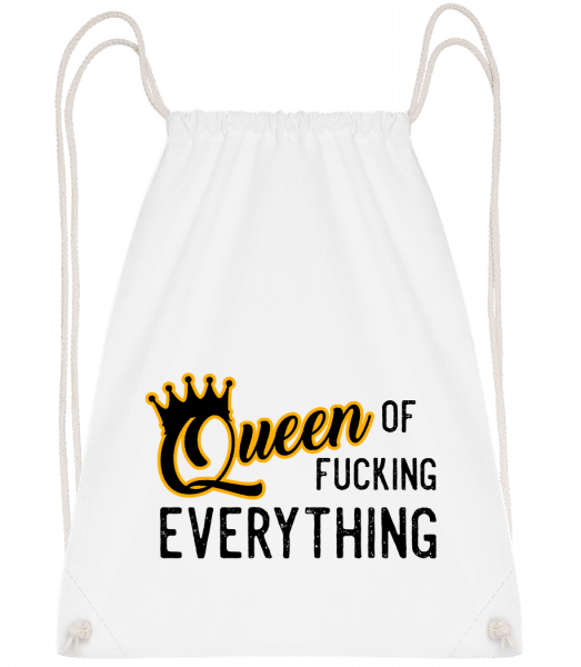 Queen Of Fucking Everything - Drawstring Backpack - White - Vorn