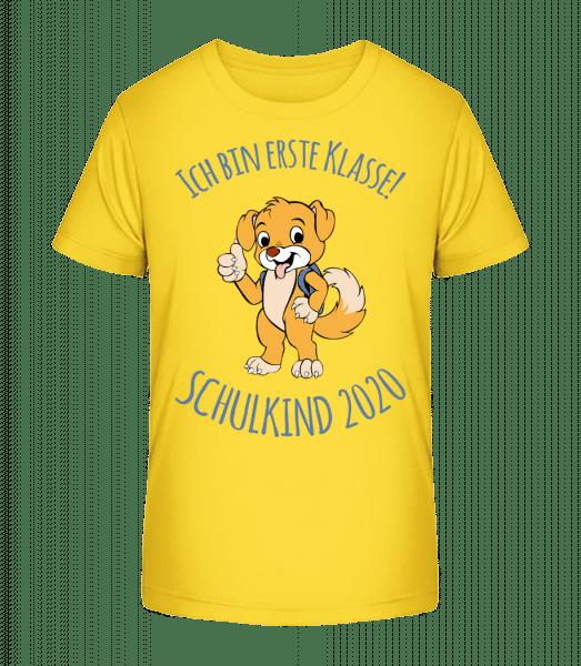 Kleiner Hund Mit Schulranzen 2020 - Kinder Premium Bio T-Shirt - Gelb - Vorn