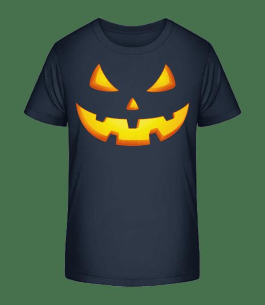 Kürbisgesicht Böse - Kinder Premium Bio T-Shirt - Marine - Vorn