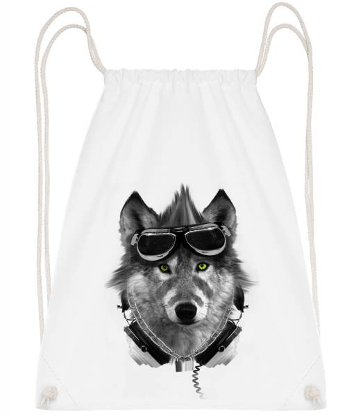 Biker Wolf - Drawstring Backpack - White - Vorn