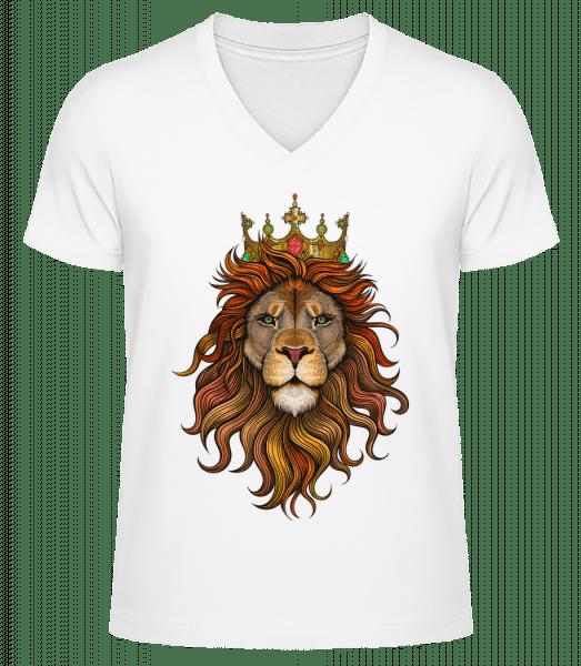 Lion King - Men's V-Neck Organic T-Shirt - White - Vorn