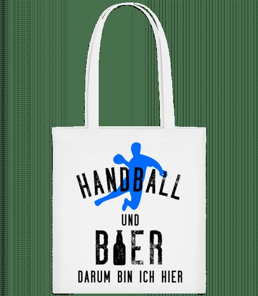 Handball Und Bier - Stoffbeutel - Weiß - Vorn