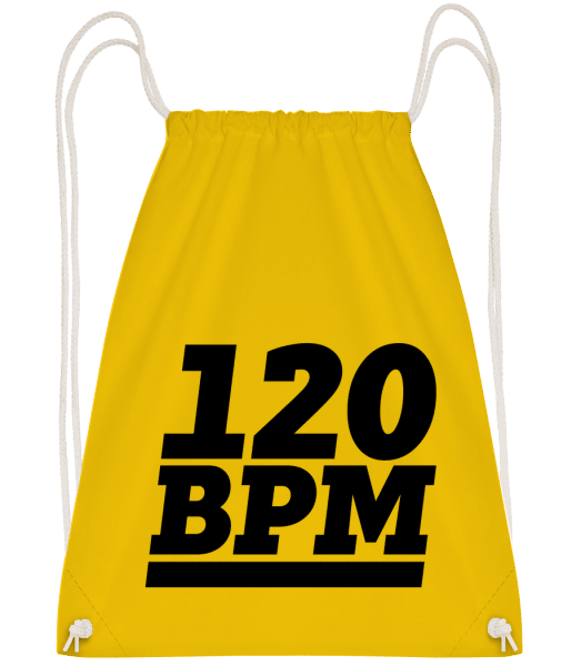 120 BPM Logo - Drawstring Backpack - Yellow - Vorn