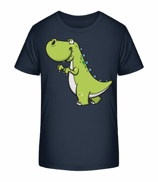 Funny Cartoon Dinosaur - Kid's Premium Bio T-Shirt - Navy - Front