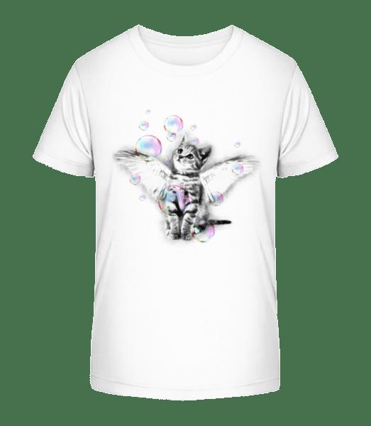 Soapbubble Cat - Kid's Premium Bio T-Shirt - White - Vorn