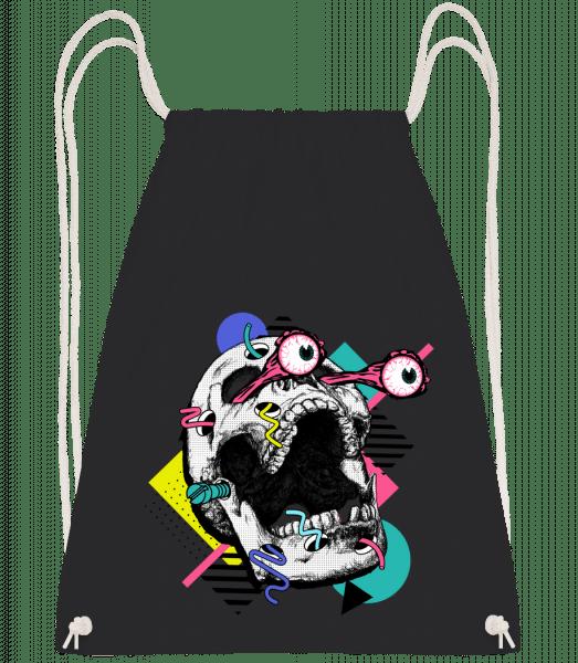 Crâne Choqué - Sac à dos Drawstring - Noir - Vorn