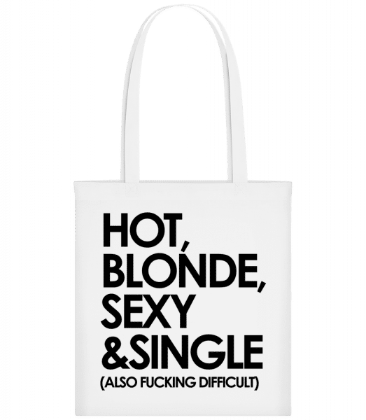 Hot, Blonde, Sexy & Single - Carrier Bag - White - Vorn
