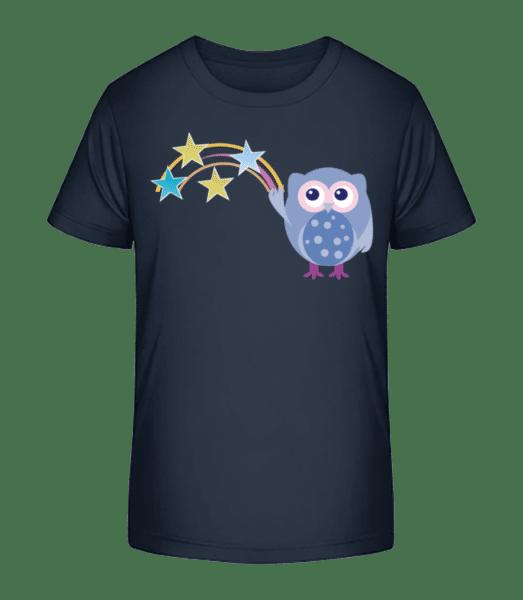 Hibou Et Étoiles - T-shirt bio Premium Enfant - Bleu marine - Vorn