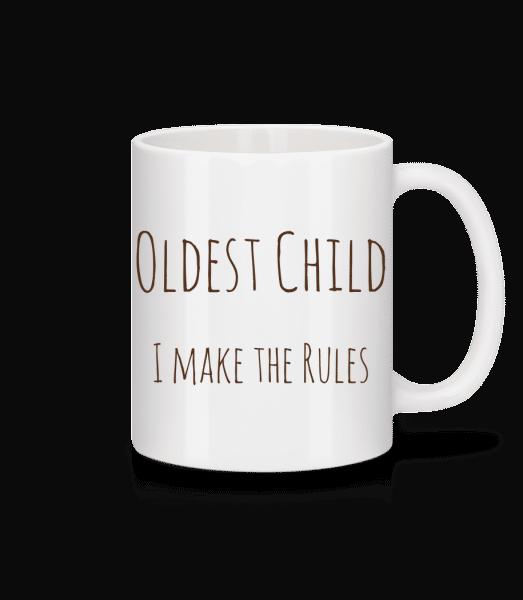 Nejstarší dítě - Keramický hrnek - Bílá - Napřed