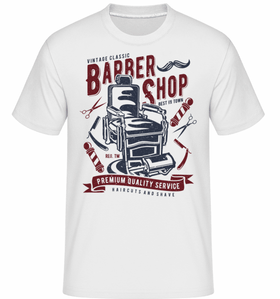 Vintage Barber Shop -  Shirtinator Men's T-Shirt - White - Front