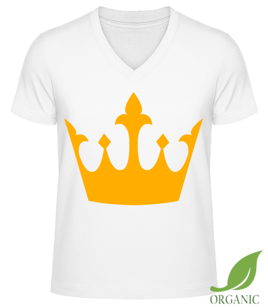 """Queen's Crown Yellow - """"James"""" Organic V-Neck T-Shirt - White - Vorn"""
